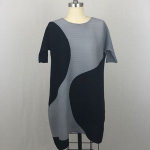 Gray & Black Color Blocked Pleated Dress